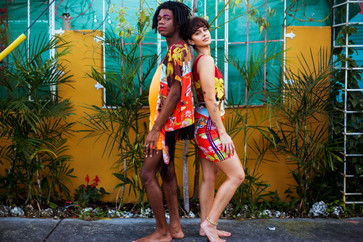 P wearing the fringe shawl & Amor wearing the fitted dress in Swamp Paradise print