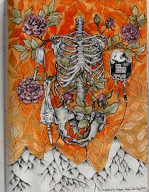 sketch book: illuminated skeleton. Boston, MA. July 2013
