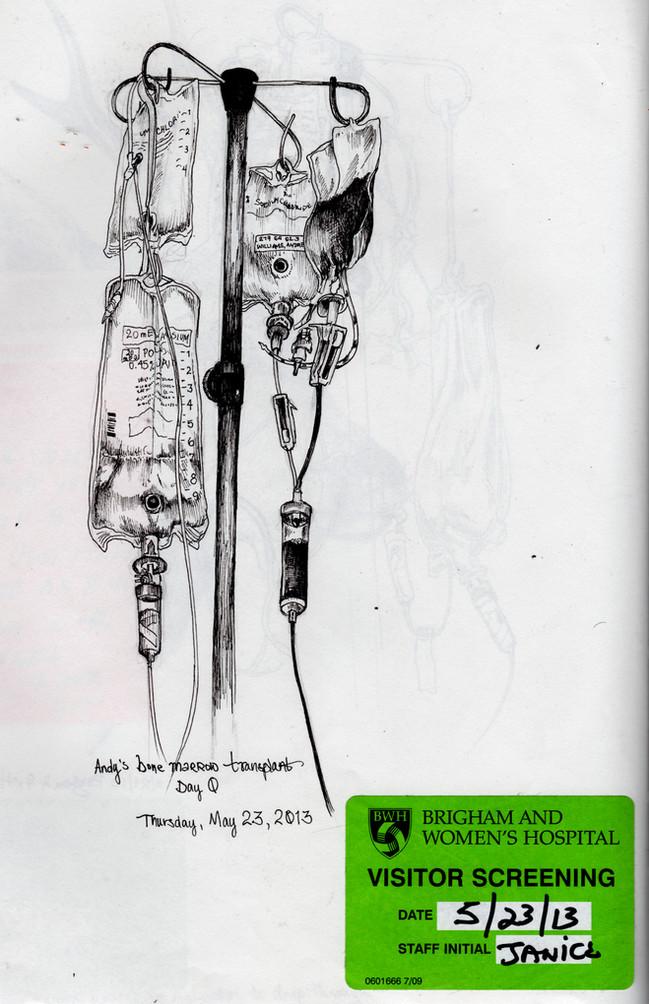 sketch book: Transplant IV pole. Boston, MA. May 23, 2013