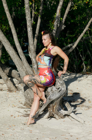 Fitted skirt & crop top in Swamp Paradise print available here at the Feisty Ink Threads shop