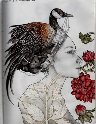 sketch book: goose IV headdress. Boston, MA. August 2013