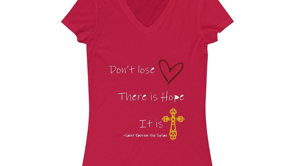Don't Lose Heart Women's Short Sleeve V-Neck Tee