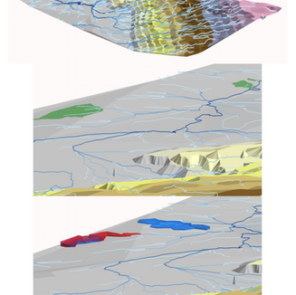 3D Animation of Water Drainage on Elevation Contours, Water Basins, and Digitized Lakes