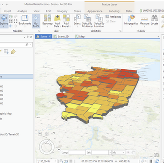 3D-Model of Median Income in the State of Illinois Using ArcGIS Local Scene