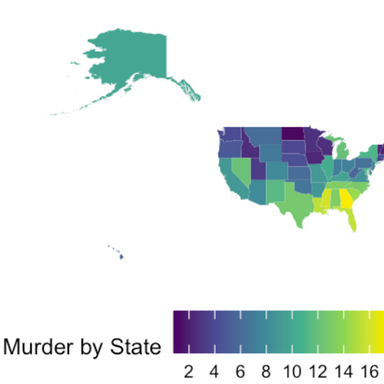 R Visualization of Chloropleth Map Depicting Murder Incidents by State