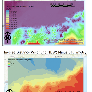 Inverse Distance Weighting (IDW) Interpolation of Bathymetry Data on the Mexican Coastline