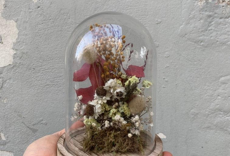 Cloche de fleurs séchées 02