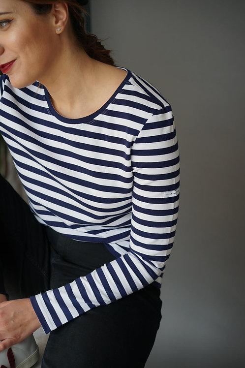 Женская синяя бретонка с длинным рукавом basicbreton и синей горловиной