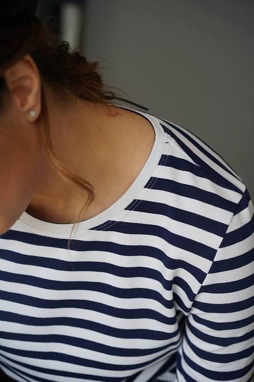 Синяя бретонка basic с длинным рукавом и белой горловиной