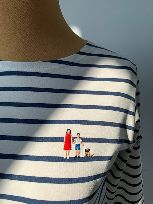 Бретонка Довиль с вышивкой Семья с мопсом_текстильный брак_размер М