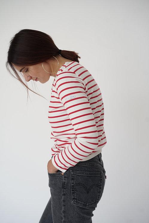 Красная бретонка с длинным рукавом Трувиль