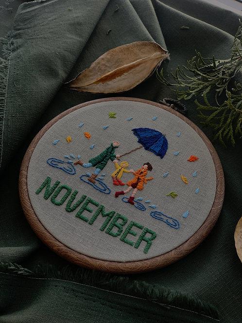 November вышивка в пяльцах