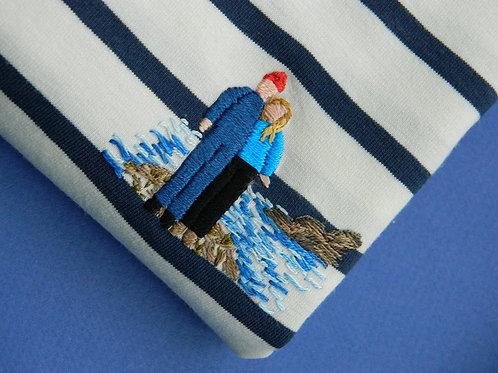 Синяя мужская бретонка с длинным рукавом с вышивкой