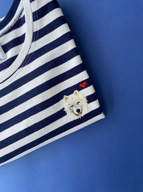 Синяя бретонка basic с длинным рукавом с вышивкой