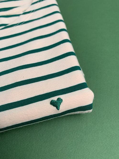 Зеленая бретонка с длинным рукавом и вышивкой Сердечко