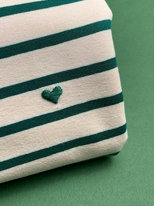 Зеленая бретонка с коротким рукавом и вышивкой Сердечко