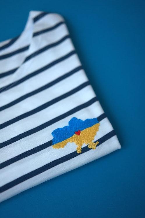 Синяя бретонка с длинным рукавом с вышивкой
