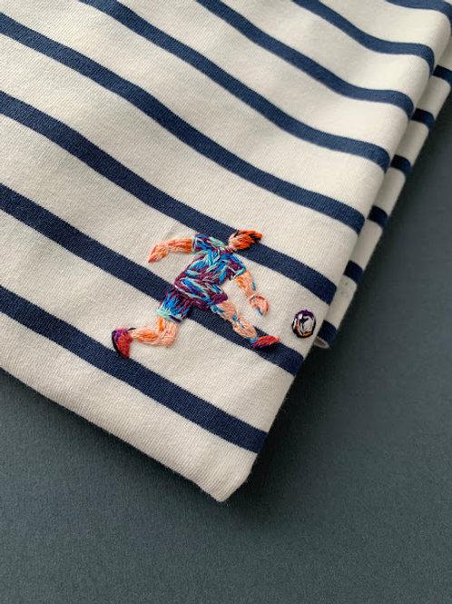 Синяя бретонка с коротким рукавом мужская с вышивкой
