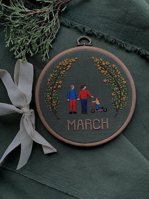 March вышивка в пяльцах