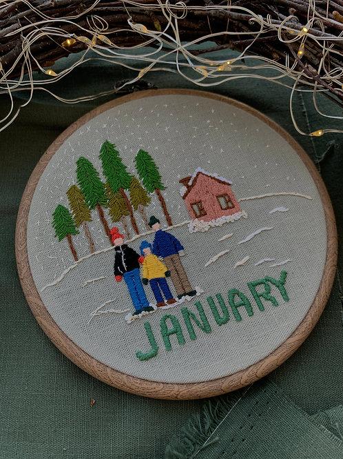 January вышивка в пяльцах