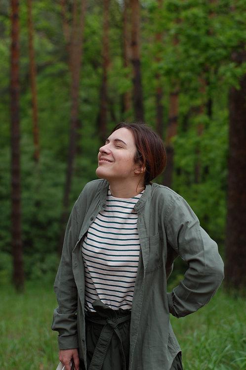 Бретонка Марсель женская зеленая с длинным рукавом_размер L_прокол горловины