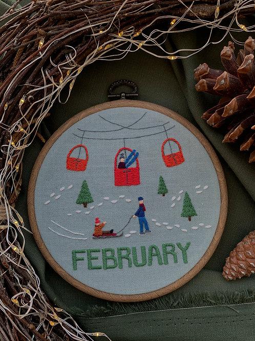 February вышивка в пяльцах