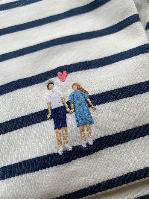 Женская бретонка с коротким рукавом и вышивкой Пара с сердцем