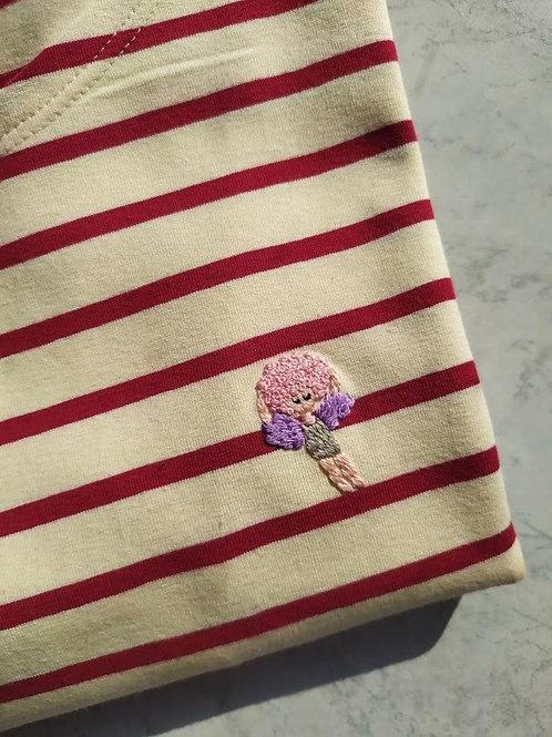 Бордовая бретонка с длинным рукавом с вышивкой