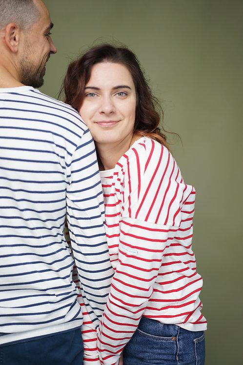 Family look: синяя мужская и красная женская бретонка длинным рукавом