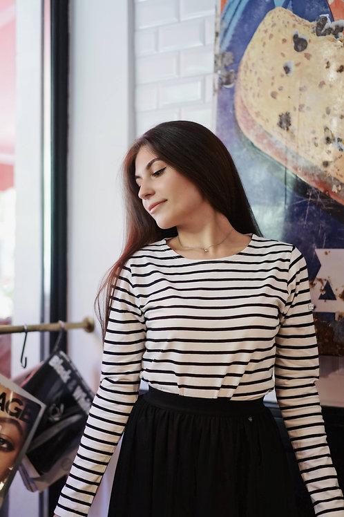 Бретонка Одри черно-белая женская с длинным рукавом_пятнышки сзади_размер 2XL