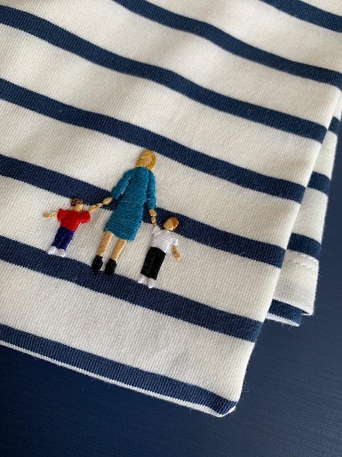 Бретонка женская с длинным рукавом и вышивкой Бабушка с внуками