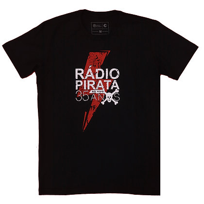 Camiseta Preta - Estampa Turnê Radio Pirata 35 Anos