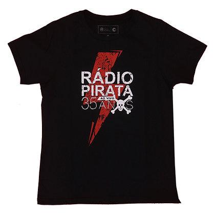 Camiseta Baby Look Preta - Estampa Turnê Radio Pirata 35 Anos