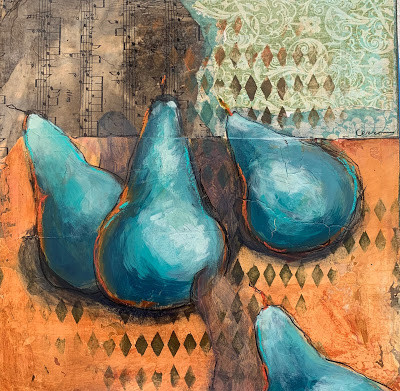 mixed media art, pears, art process