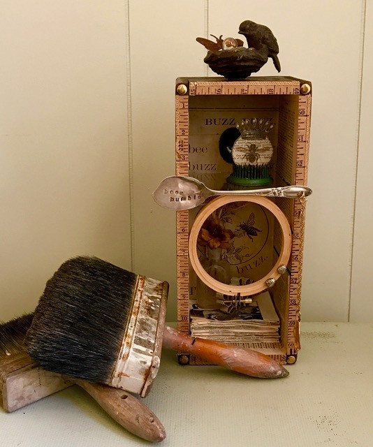 """""""Bee Humble"""" assemblage art"""