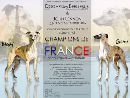 Deux nouveaux Champions de France
