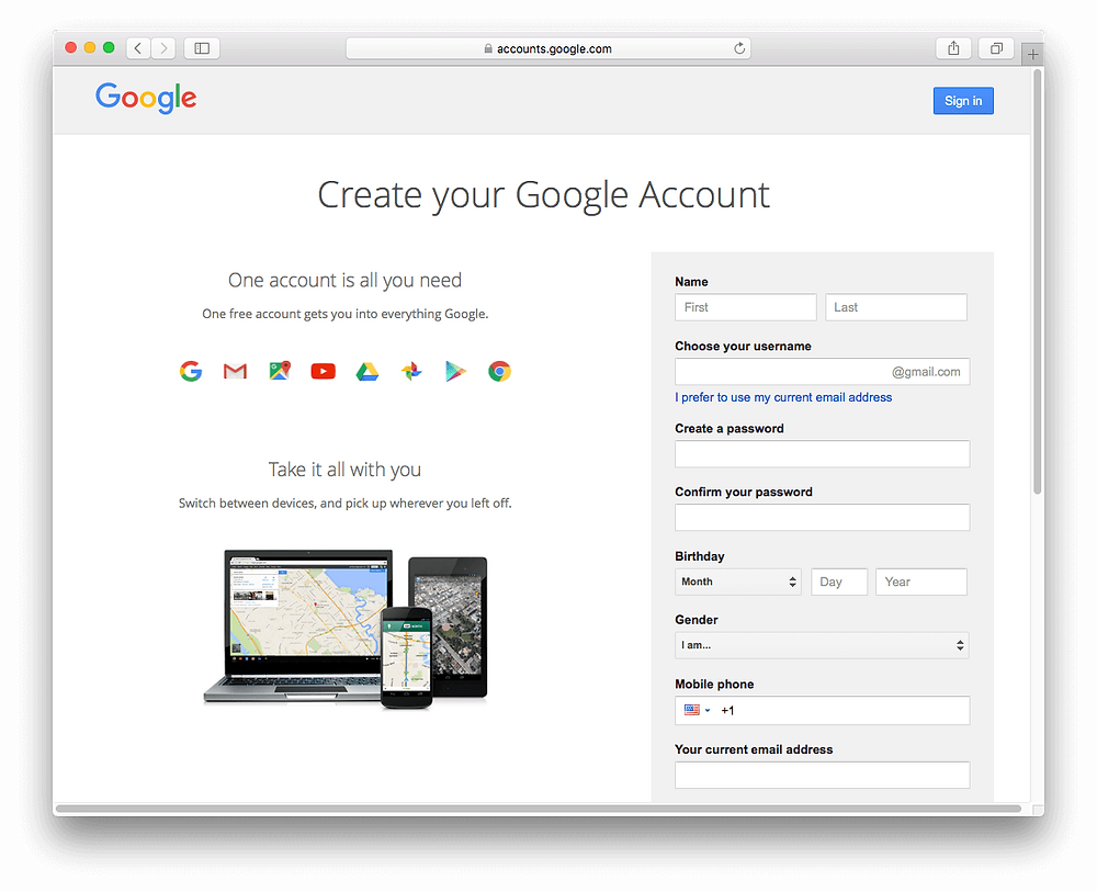 Evermusic: Create your Google Account