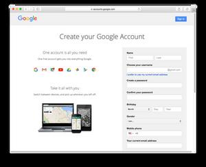 Evermusic: Create your Google Account