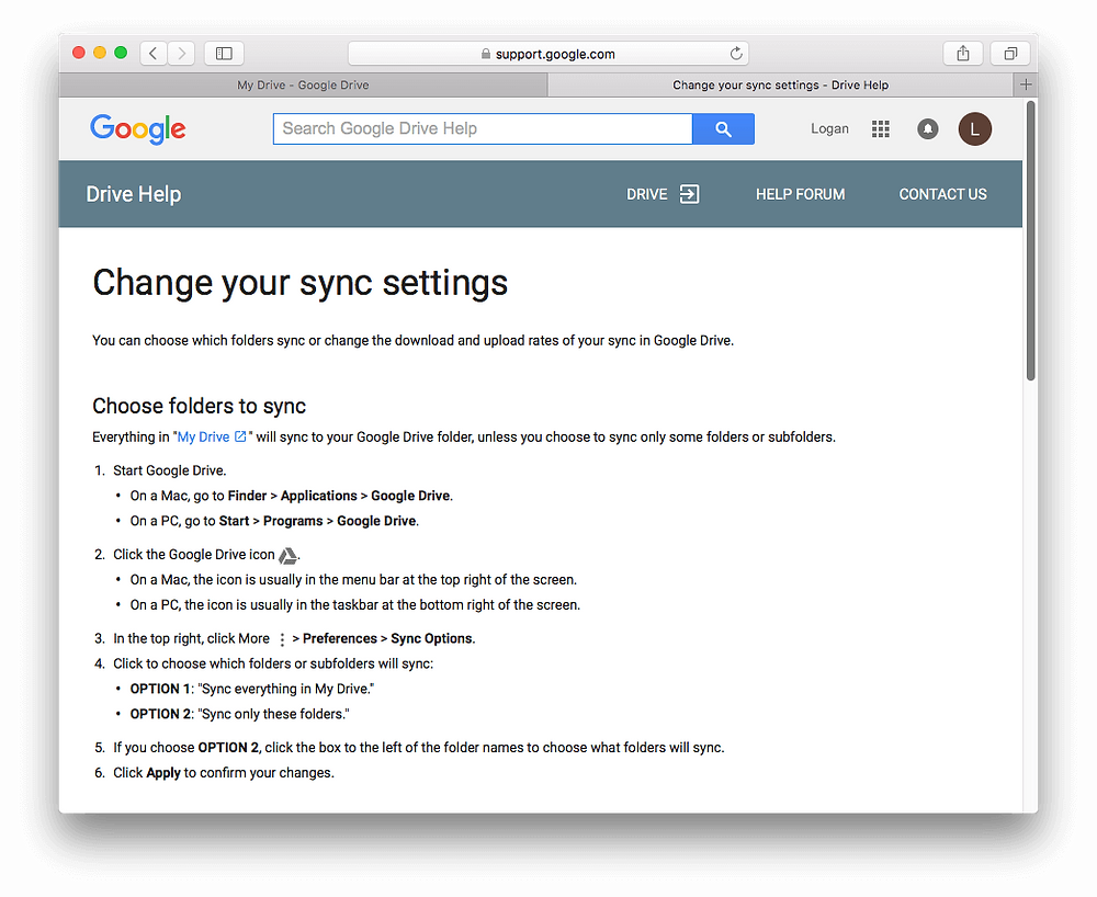 Evermusic: Change Google Drive Sync Settings