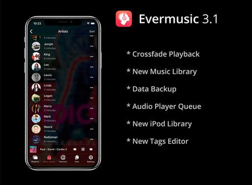 Evermusic 3.1: Crossfade playback, new music library, data backup