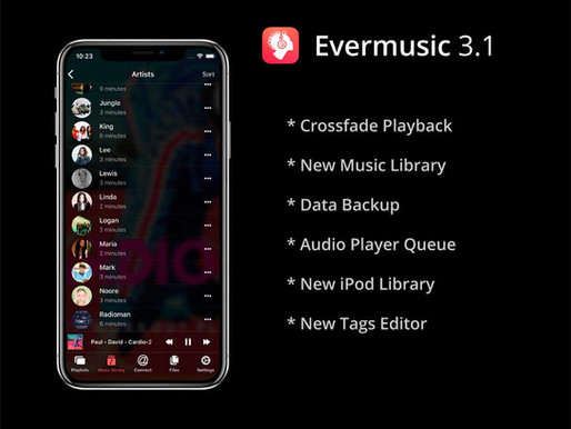 Evermusic 3.1: Crossfade playback, new music library, data backup
