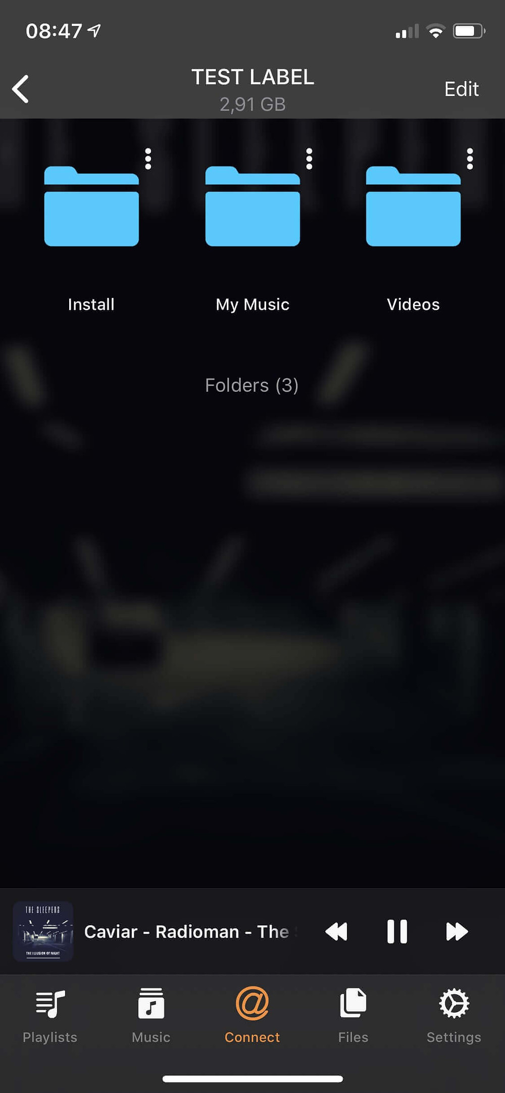 Evermusic with iXpand Drive Folders