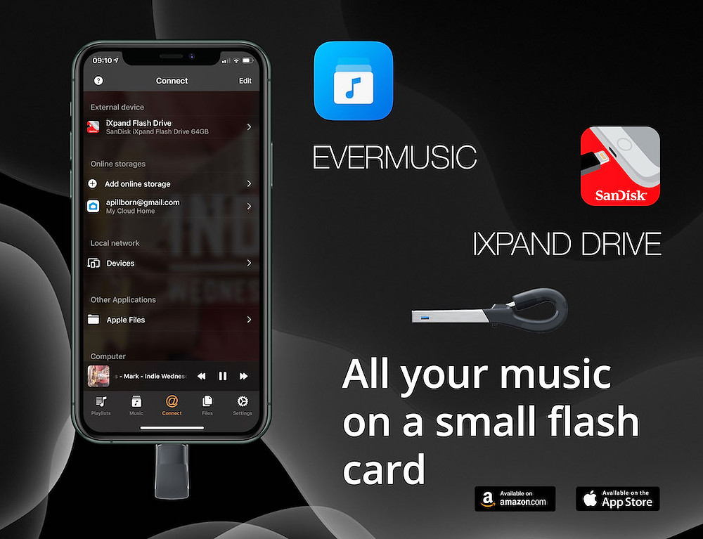 Evermusic with iXpand Flash Drive