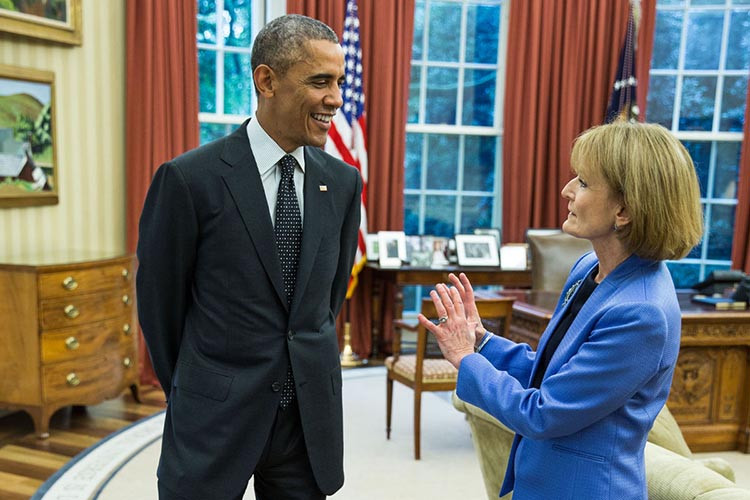 Mary Wakefield and Barack Obama discuss the Affordable Care Act at the White House