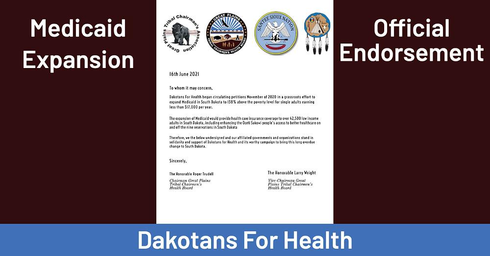 Great Plains Tribal Chairmen's Health Board Endorses Dakotans for Health