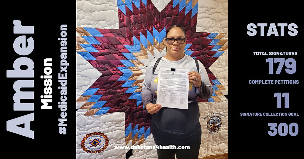 Rosebud Sioux Tribe Member circulating Medicaid expansion petition at IHS office