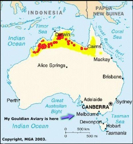 Map of Australia showing wild Gouldian finch habitats.