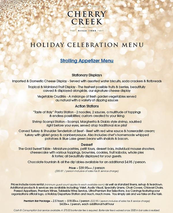 Cherry Creek Holiday Menus