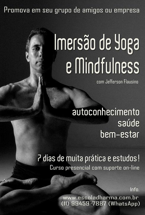CARTAZ DA IMERSÃO DE YOGA E MINDFULNESS.