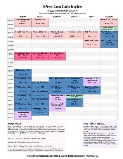 PNGGG MPower Dance Studio Schedule - 202